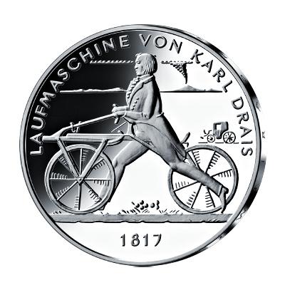 20 Euro Silbermünze 200 Jahre Laufmaschine Von Karl Drais Emxpress