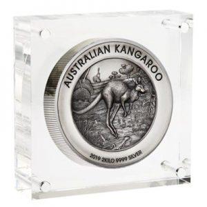 australian-kangaroo-2019-2-kilo-silber-high-relief-rahmen